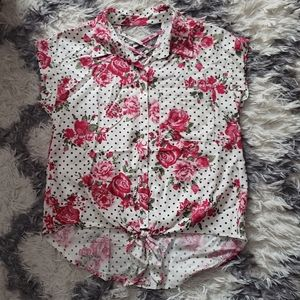 White floral short sleeve button down